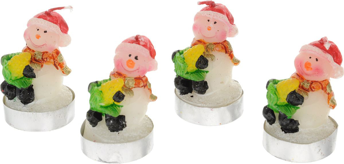 {} Набор свечей Снеговик (5х6х6 см - 4 шт) миниатюра снеговик цвет серебристый 6 5 см