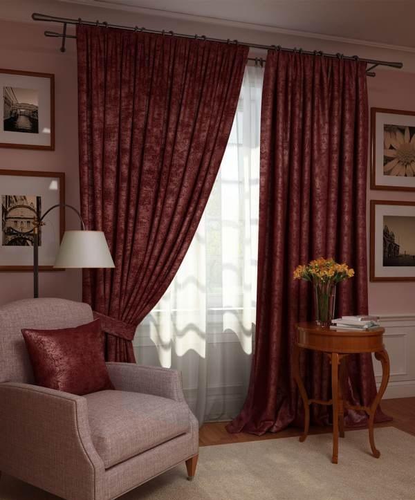 Шторы Kauffort Классические шторы Ellery Цвет: Красный Рубин шторы kauffort классические шторы kimberly s цвет красный
