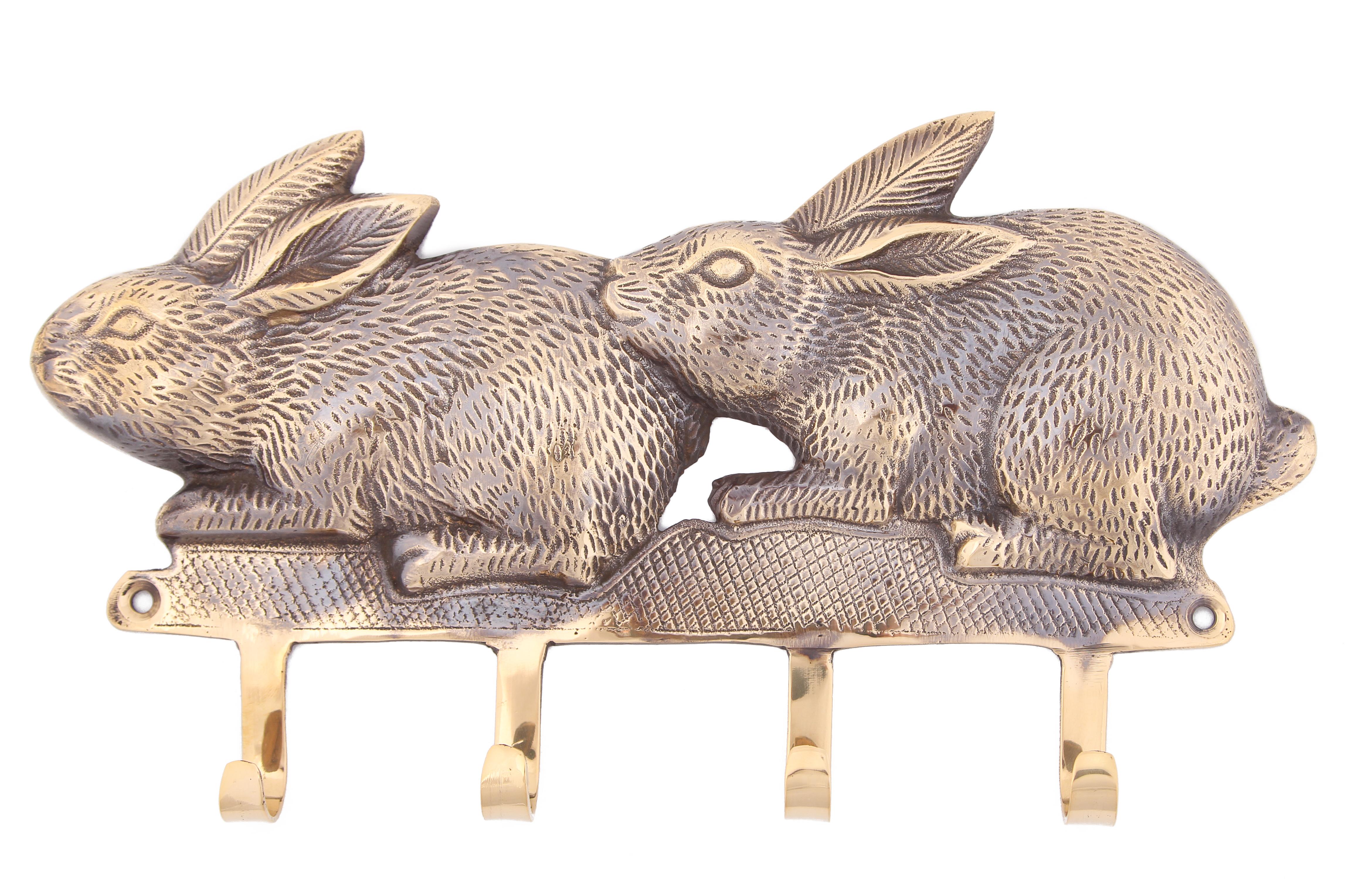 {} Ганг Вешалка Зайцы (3х17х30 см) крючки настенные ганг вешалка зайцы