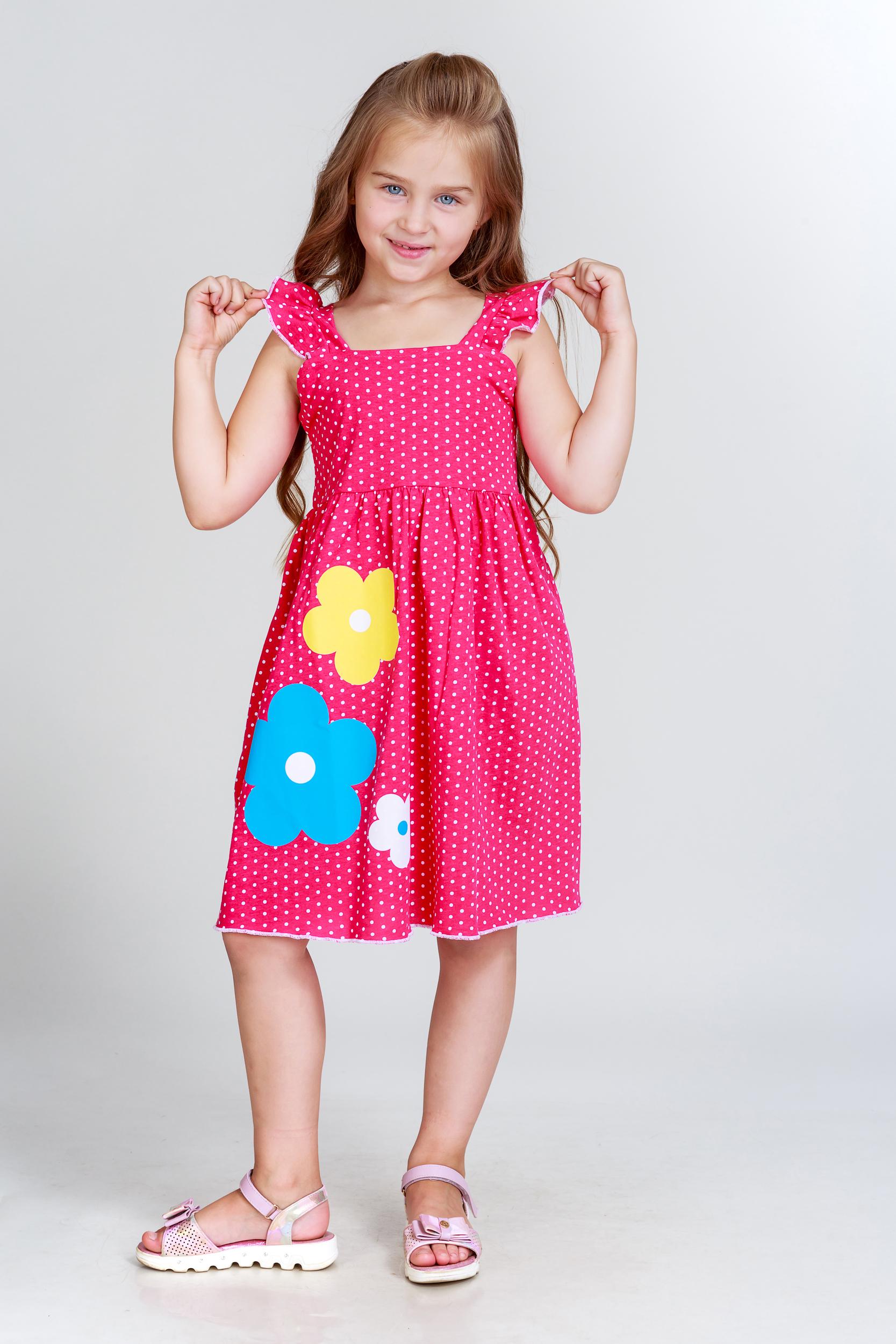 Детские туники, сарафаны Pastilla Платье Летнее Цвет: Малиновый (4-5 лет)