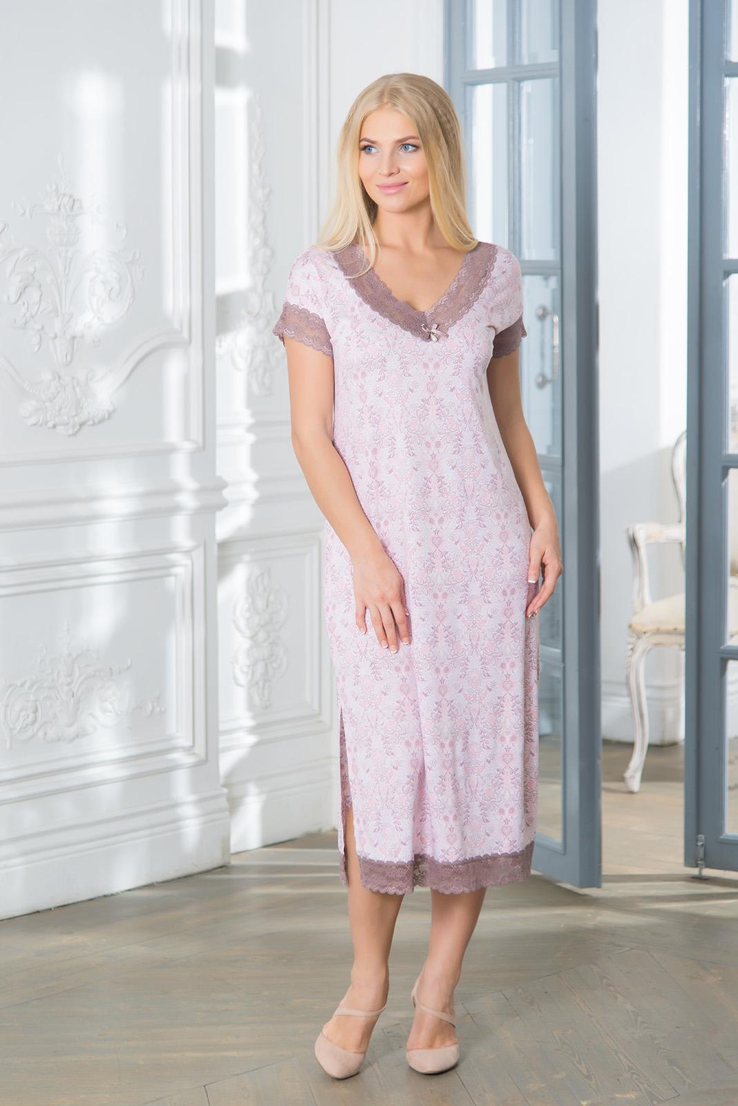 Ночные сорочки Mia Cara Ночная сорочка Meryle Цвет: Сиреневый (S) пижама жен mia cara майка шорты botanical aw15 ubl lst 264 р 42 44 1119503