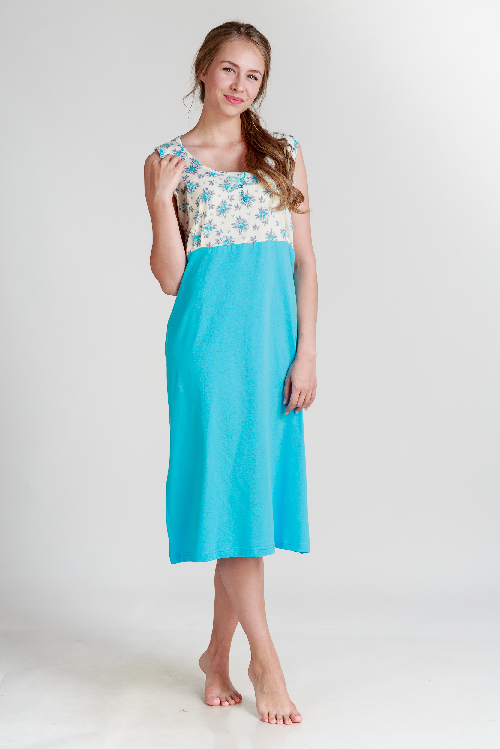 Ночные сорочки Pastilla Ночная сорочка Ваниль Цвет: Голубой (xL) сорочка ночная для беременных и кормящих мамин дом мамин дом цвет голубой 24130 размер 48