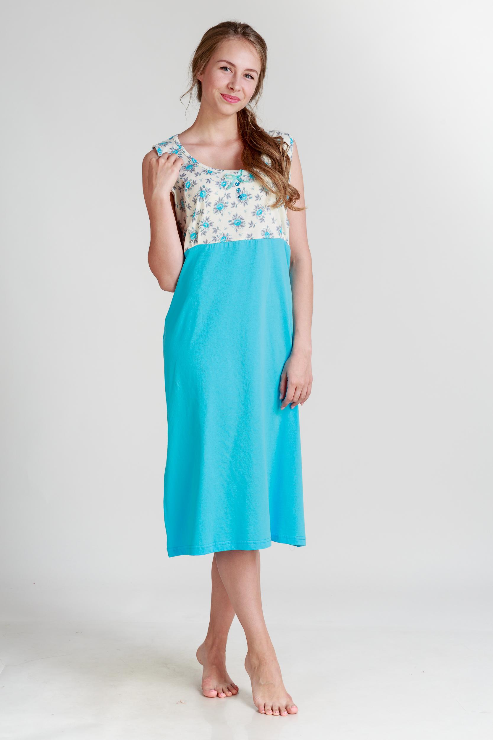 Ночные сорочки Pastilla Ночная сорочка Ваниль Цвет: Голубой (xxxL) сорочка ночная для беременных и кормящих мамин дом мамин дом цвет голубой 24130 размер 48