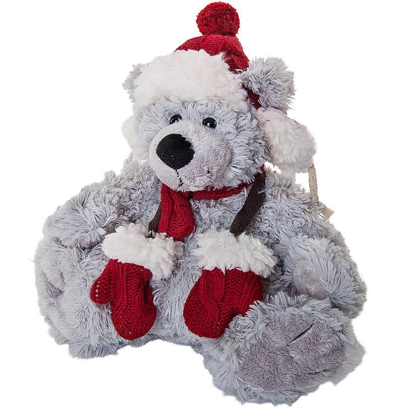 {}  Мягкая игрушка Медвежонок Цвет: Серый, Красный (25 см) игрушка канатная mrpet восьмерка с мячем цвет желтый красный 25 см