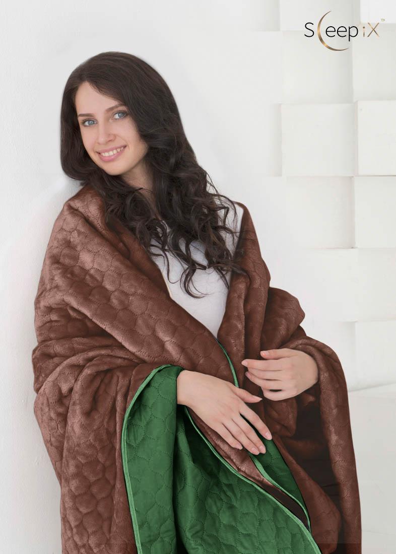 {} Sleep iX Одеяло-покрывало Multi Blanket Цвет: Зеленый/Коричневый (160х220 см)