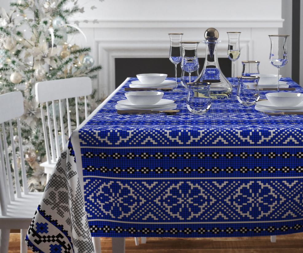 Скатерти и салфетки Сирень Скатерть Синий Узор (120х145 см)