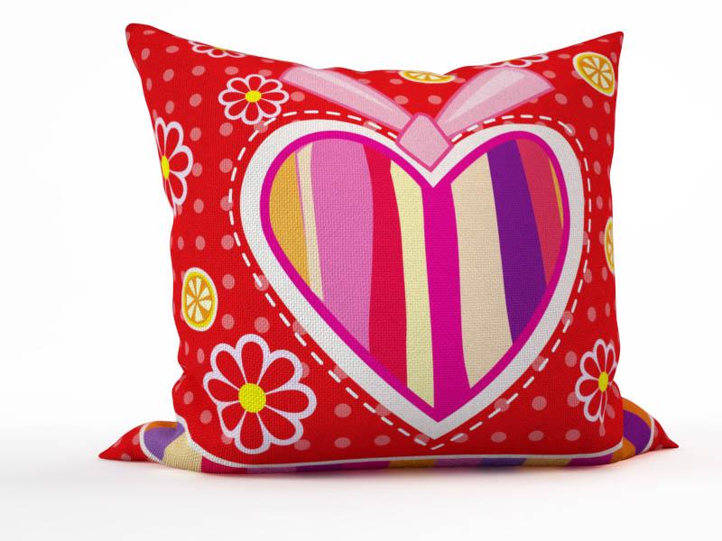 Декоративные подушки StickButik Декоративная подушка Полосатое Сердце (45х45) подушки декоративные maxitoys декоративная подушка сердце с ручками