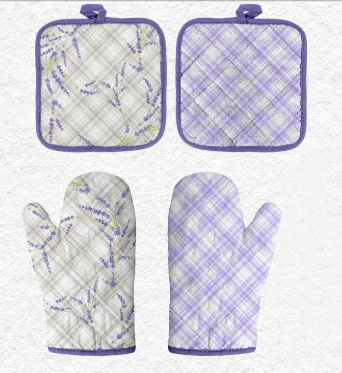 {} Романтика Кухонный набор прихватка + рукавичка Аромат Лаванды комплект для кухни фартук прихватка рукавичка