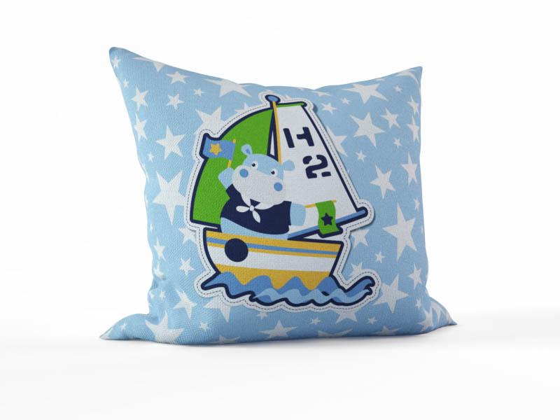 Декоративные подушки StickButik Декоративная подушка Капитан Бегемотик (45х45)