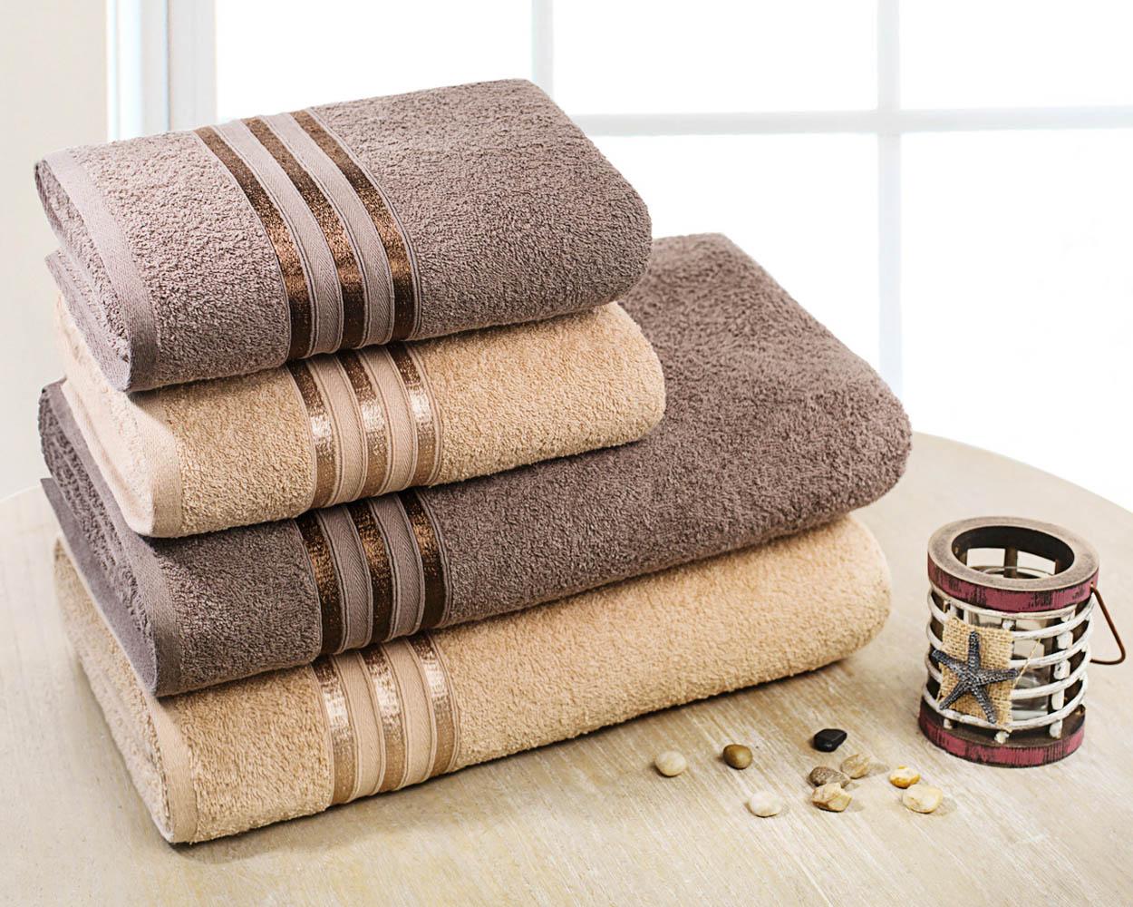 Полотенца Dome Набор из 4 полотенец Harmonika Цвет: Бежевый/Коричневый полотенца кухонные la pastel набор полотенец 4 предмета из микрофибры 30х30
