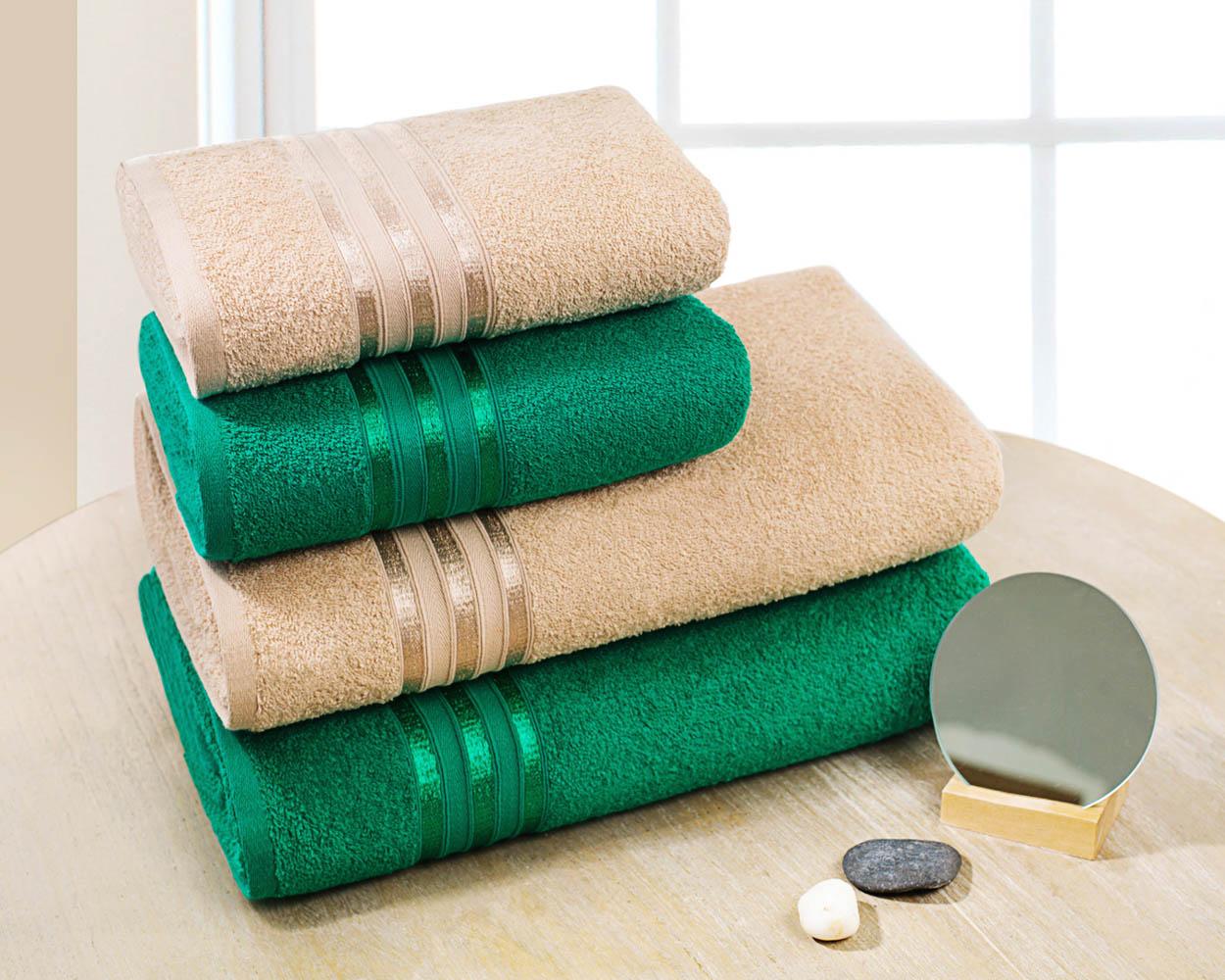 Полотенца Dome Набор из 4 полотенец Harmonika Цвет: Бежевый/Изумрудный полотенца кухонные la pastel набор полотенец 4 предмета из микрофибры 30х30