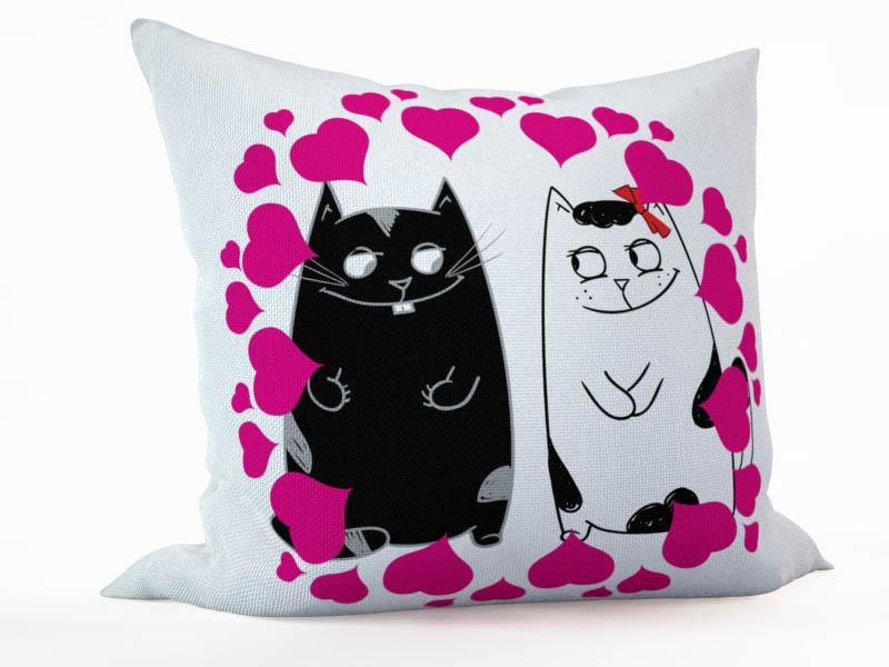 Декоративные подушки StickButik Декоративная подушка Влюбленные Коты (45х45) подушки декоративные оранжевый кот декоративная подушка коты