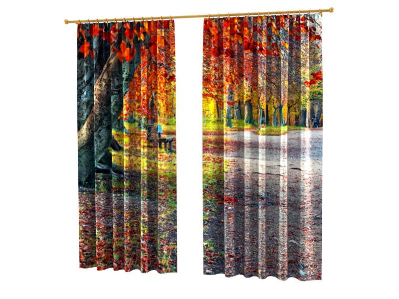 Шторы StickButik Фотошторы Скамья В Осеннем Парке шторы stickbutik фотошторы одуванчик в росе