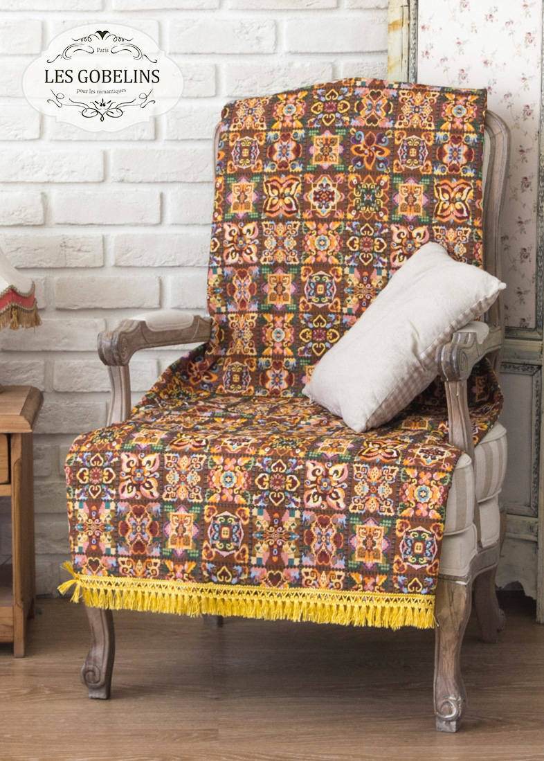 Покрывало Les Gobelins Накидка на кресло Mosaique De Fleurs (60х140 см)