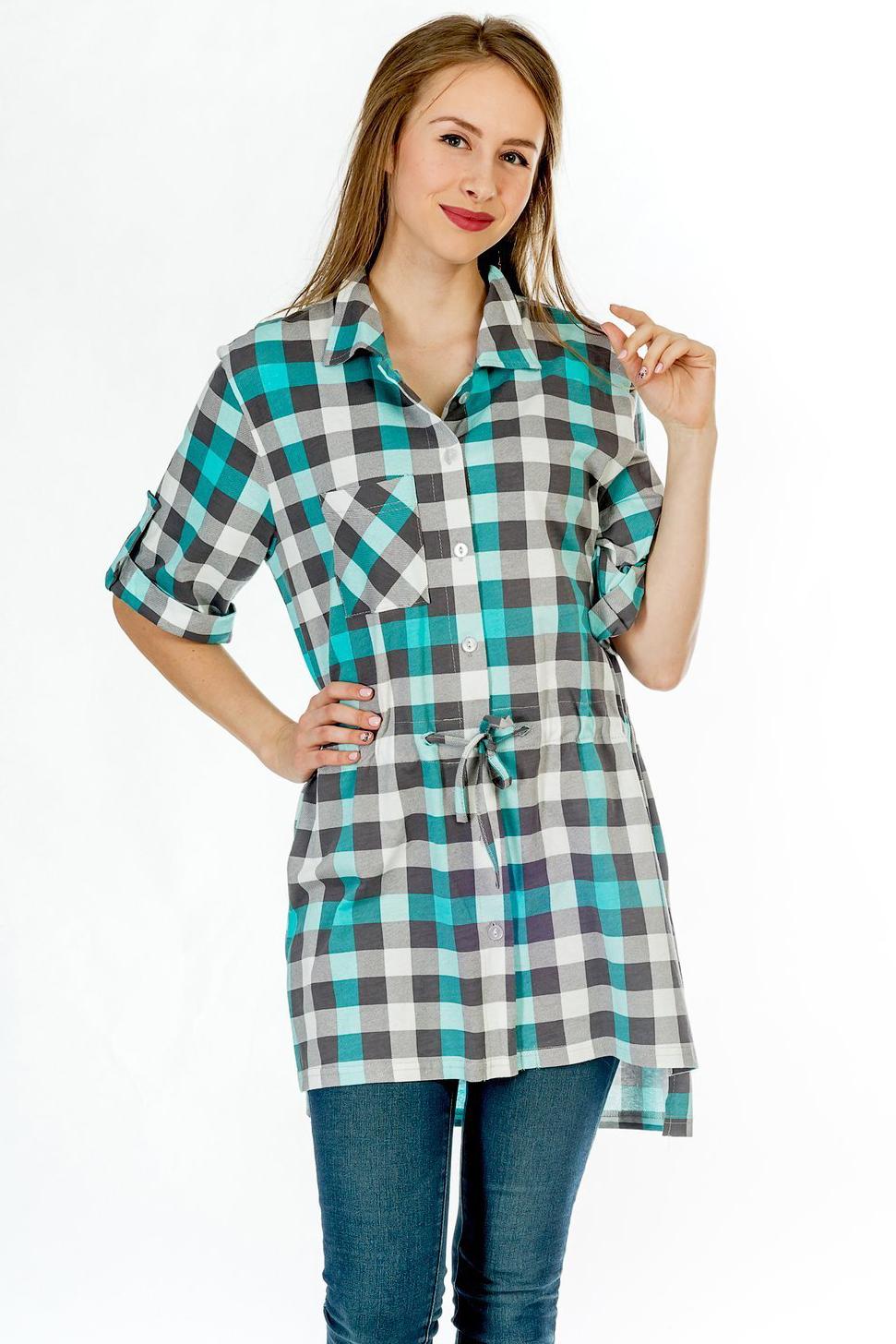 Туники, сарафаны Pastilla Туника-рубашка Бритни 2 Цвет: Ментол (xxxxL)