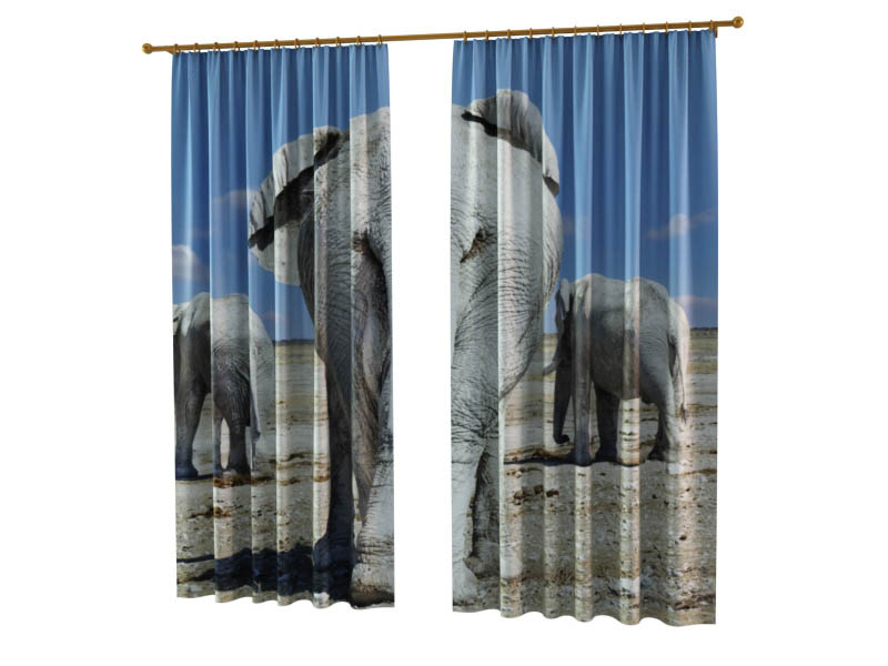 Шторы StickButik Фотошторы Тропа Слонов