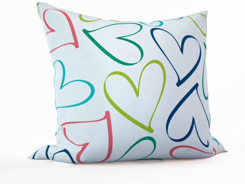 Декоративные подушки StickButik Декоративная подушка Цветные Сердечки  (45х45)