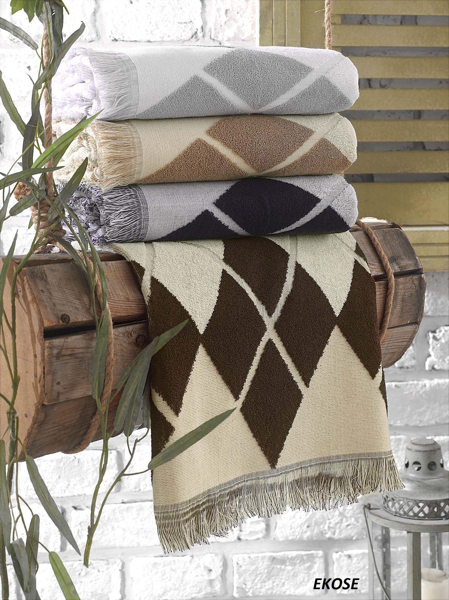 Полотенца Arya Полотенце Ekose Цвет: Серый, Белый (50х90 см) полотенца arya полотенце otel цвет белый 50х90 см 6 шт