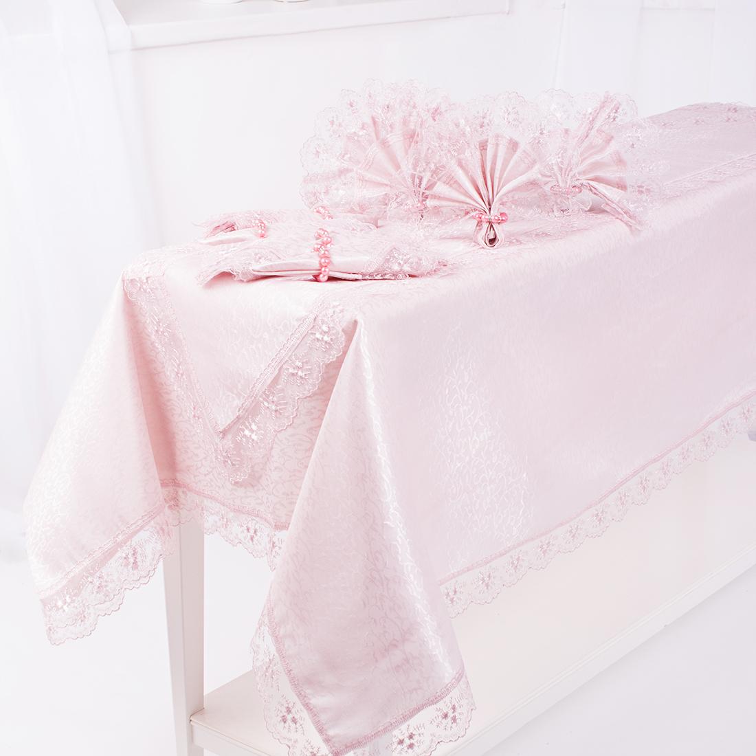 Скатерти и салфетки Eleganta Скатерть Calanthia Цвет: Розовый (160х220 см) полотенца кухонные dorothy s home кухонная скатерть люкс в подарочной коробке с кольцами 160 220 8 салфеток