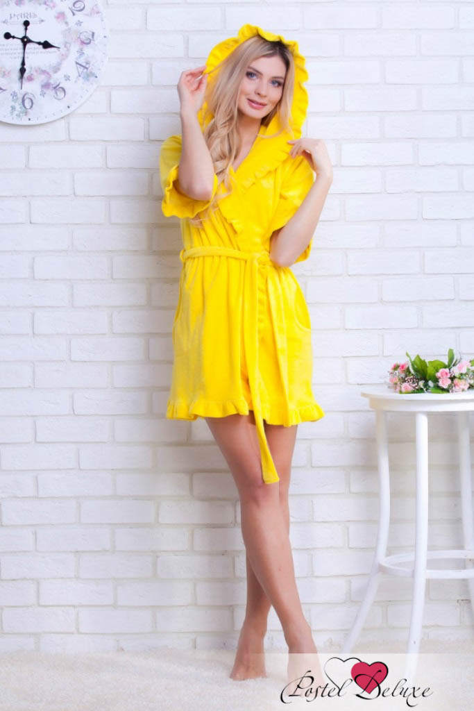 Домашние халаты EvaTeks Домашний халат Tiphanie Цвет: Желтый (L) домашние халаты mia mia домашний халат yesenia xl