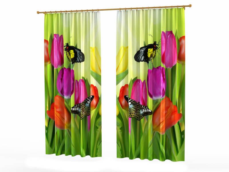 Шторы StickButik Фотошторы Тюльпаны И Бабочки шторы stickbutik фотошторы тюльпаны над водой