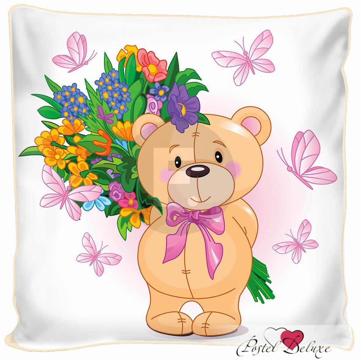 где купить Декоративные подушки Fototende Декоративная подушка Мишка С Цветами (45х45) по лучшей цене