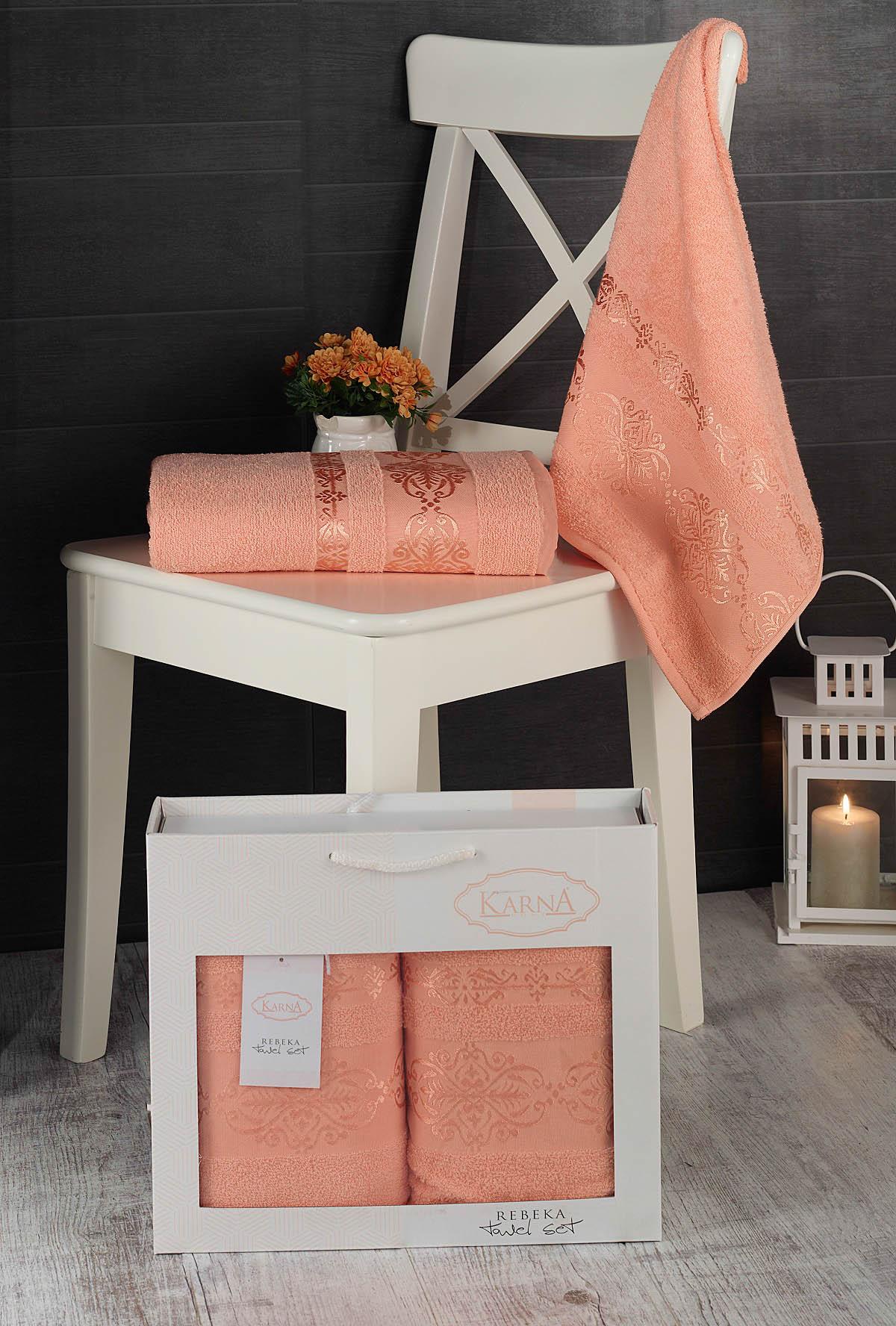 Полотенца Karna Полотенце Rebeca Цвет: Абрикосовый (50х90 см,70х140 см) цены онлайн