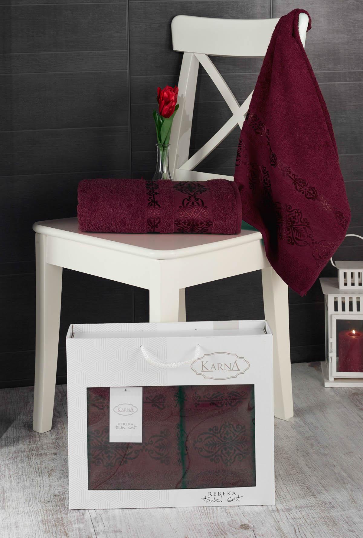 Полотенца Karna Полотенце Rebeca Цвет: Бордовый (50х90 см,70х140 см) цены онлайн