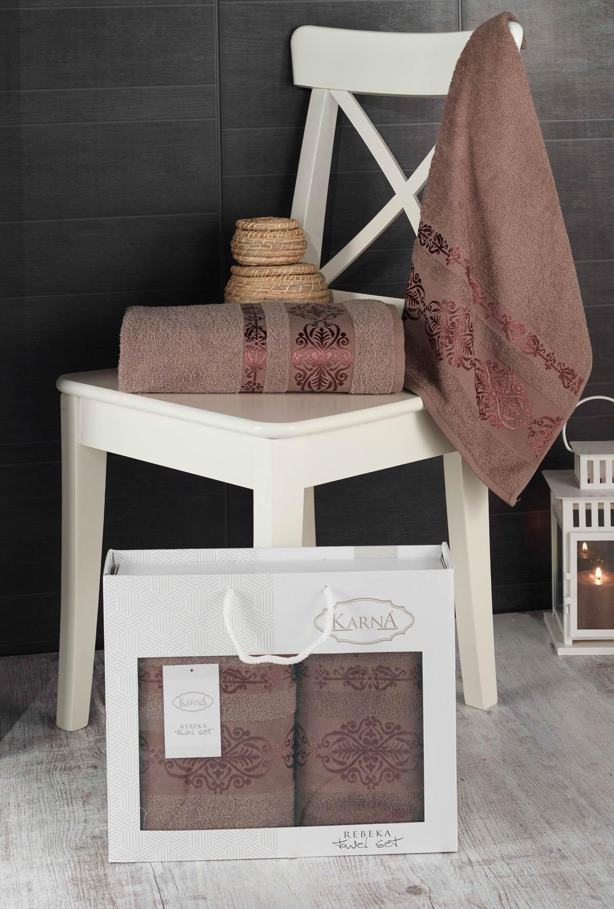 Полотенца Karna Полотенце Rebeca Цвет: Коричневый (50х90 см,70х140 см) цены онлайн