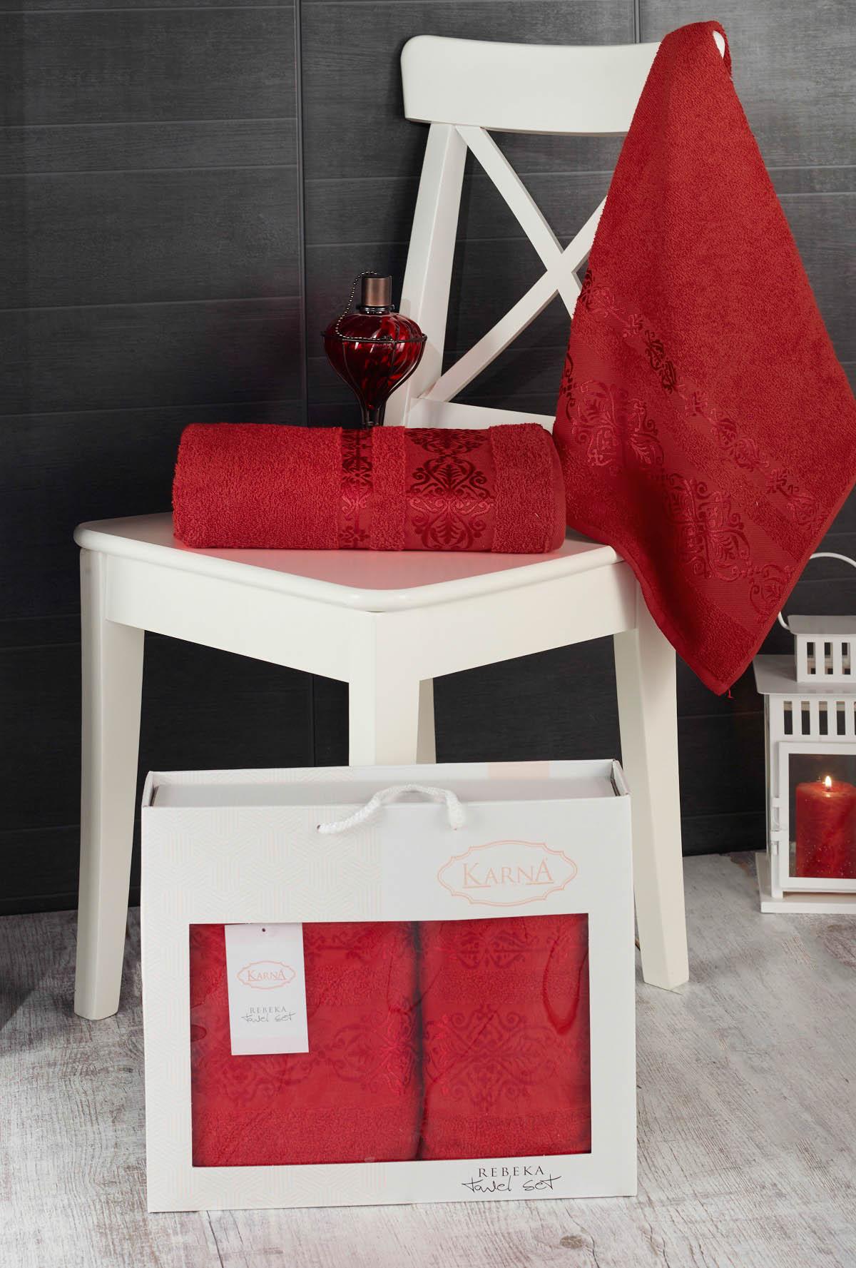 Полотенца Karna Полотенце Rebeca Цвет: Красный (50х90 см,70х140 см) набор из 3 полотенец merzuka sakura 50х90 2 70х140 8432 терракотовый