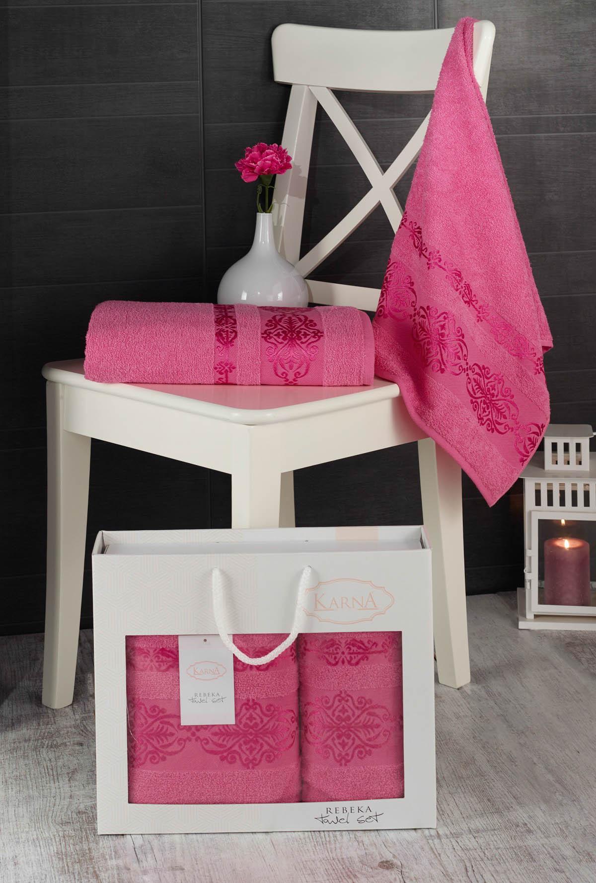 Полотенца Karna Полотенце Rebeca Цвет: Розовый (50х90 см,70х140 см) наматрасник karna с пропиткой 120x200 см