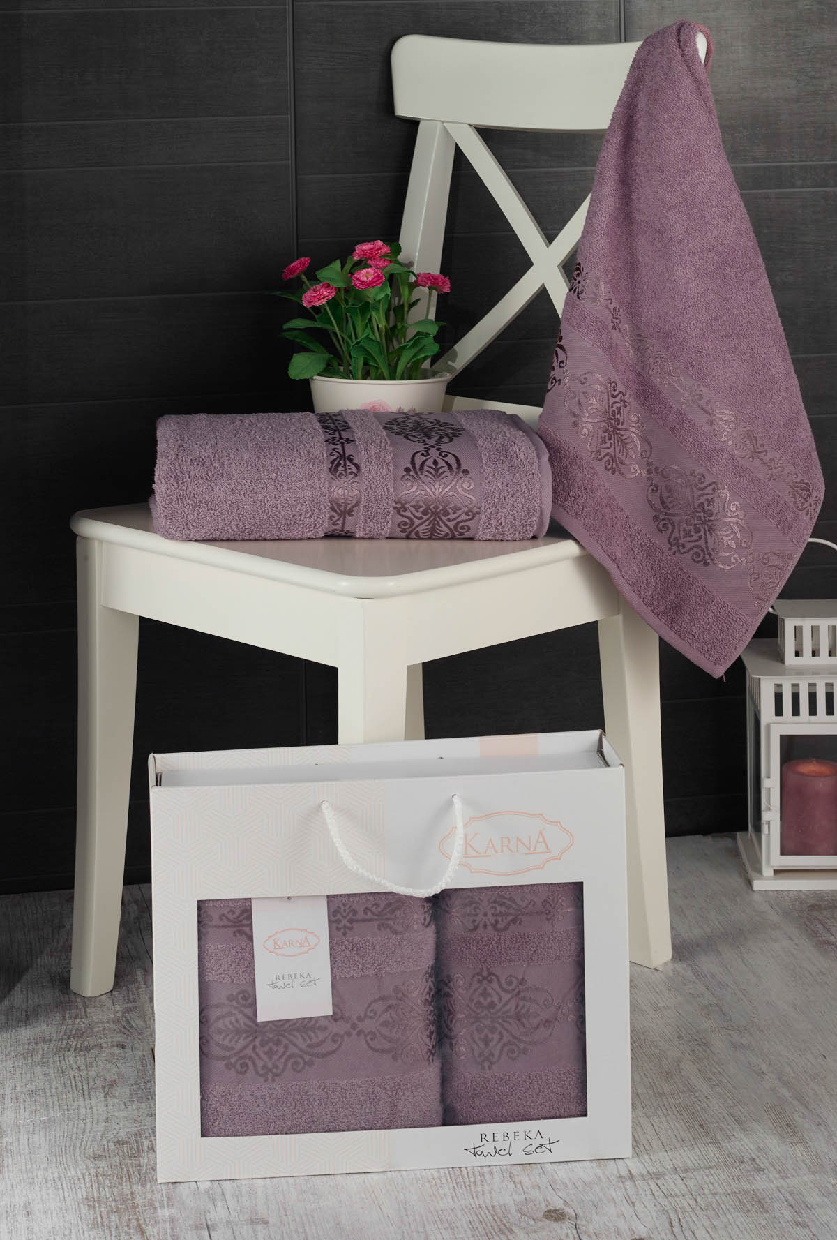 Полотенца Karna Полотенце Rebeca Цвет: Светло-Лаванда (50х90 см,70х140 см) цены онлайн