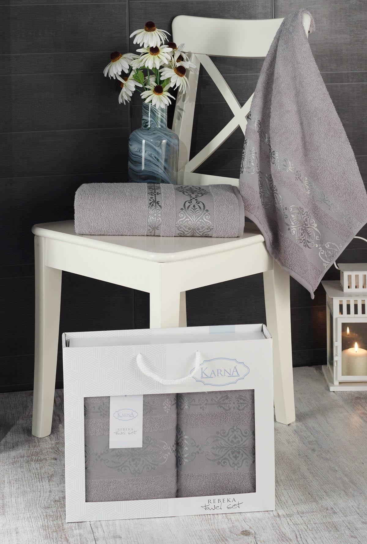 Полотенца Karna Полотенце Rebeca Цвет: Серый (50х90 см,70х140 см) цены онлайн