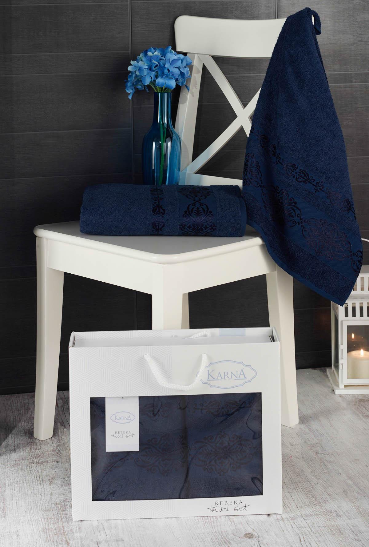 Полотенца Karna Полотенце Rebeca Цвет: Синий (50х90 см,70х140 см) наматрасник karna с пропиткой 120x200 см