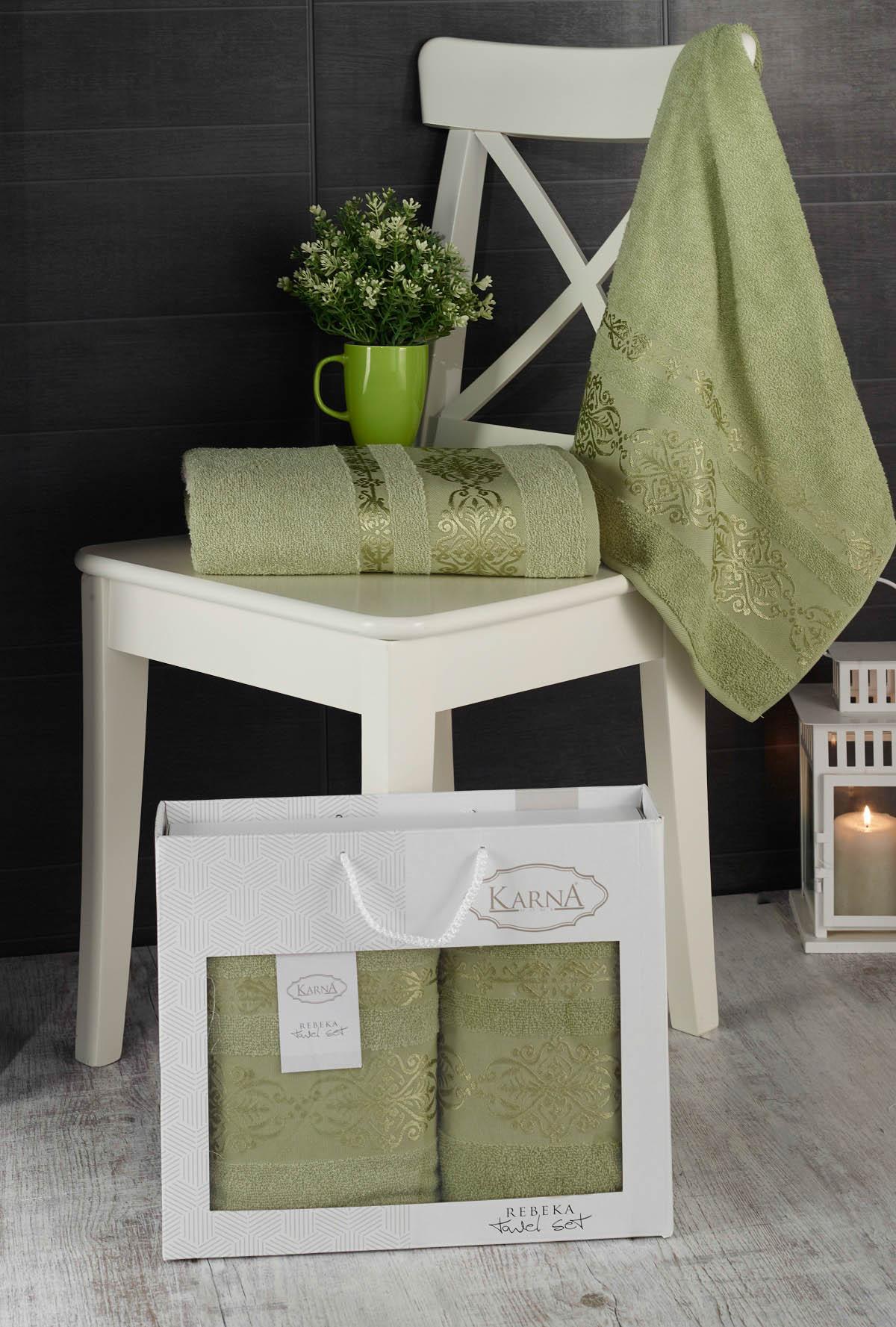 Полотенца Karna Полотенце Rebeca Цвет: Темно-Зеленый (50х90 см,70х140 см) цены онлайн