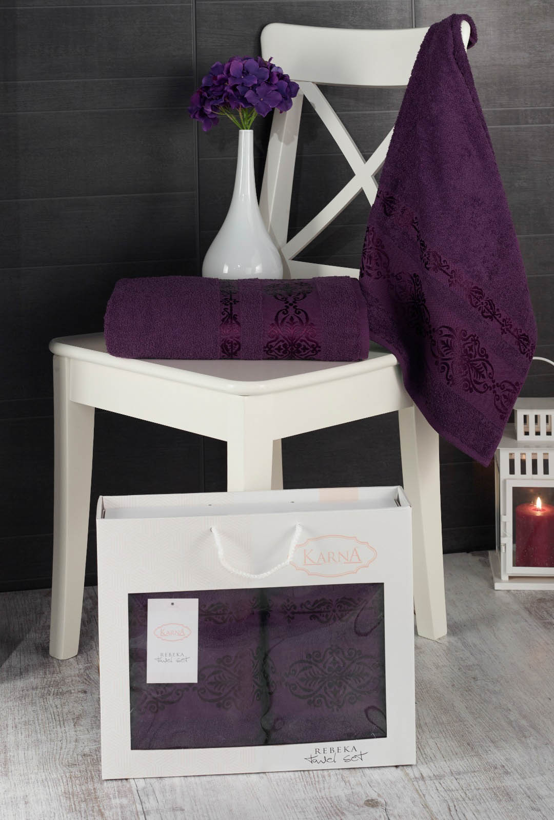 Полотенца Karna Полотенце Rebeca Цвет: Фиолетовый (50х90 см,70х140 см) набор из 3 полотенец merzuka sakura 50х90 2 70х140 8432 терракотовый