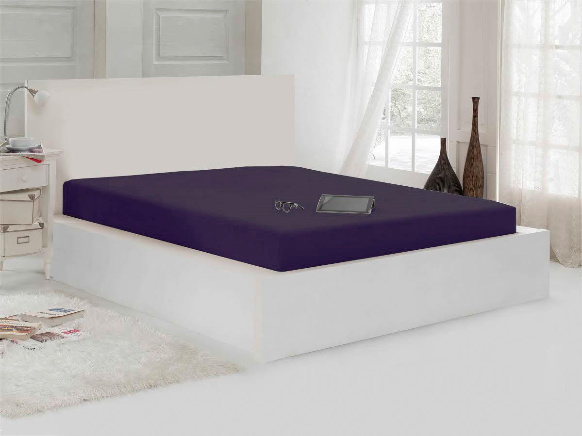 Простыни Karna Простыня на резинке Janna Цвет: Фиолетовый (100х200) наматрасник karna 100 200 см с пропиткой