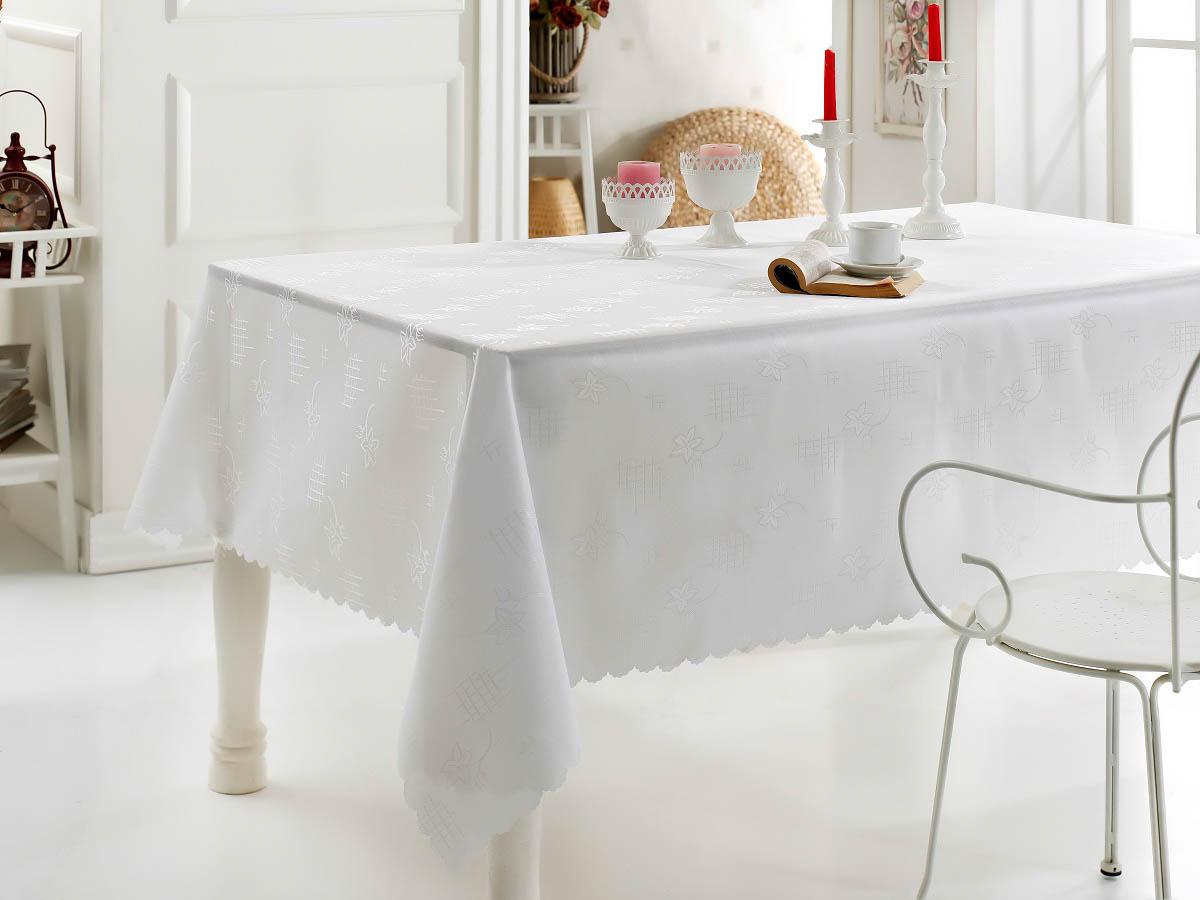 Скатерти и салфетки Karna Скатерть Dertsiz Цвет: Белый (160х220 см) скатерти и салфетки karna скатерть caramel цвет белый 160х220 см