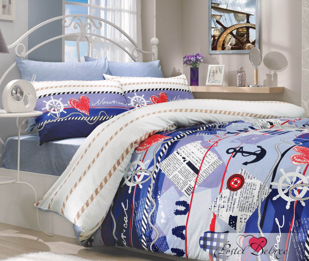 где купить Постельное белье HOBBY HOME COLLECTION Постельное белье Marine Цвет: Синий (2 сп. евро) по лучшей цене