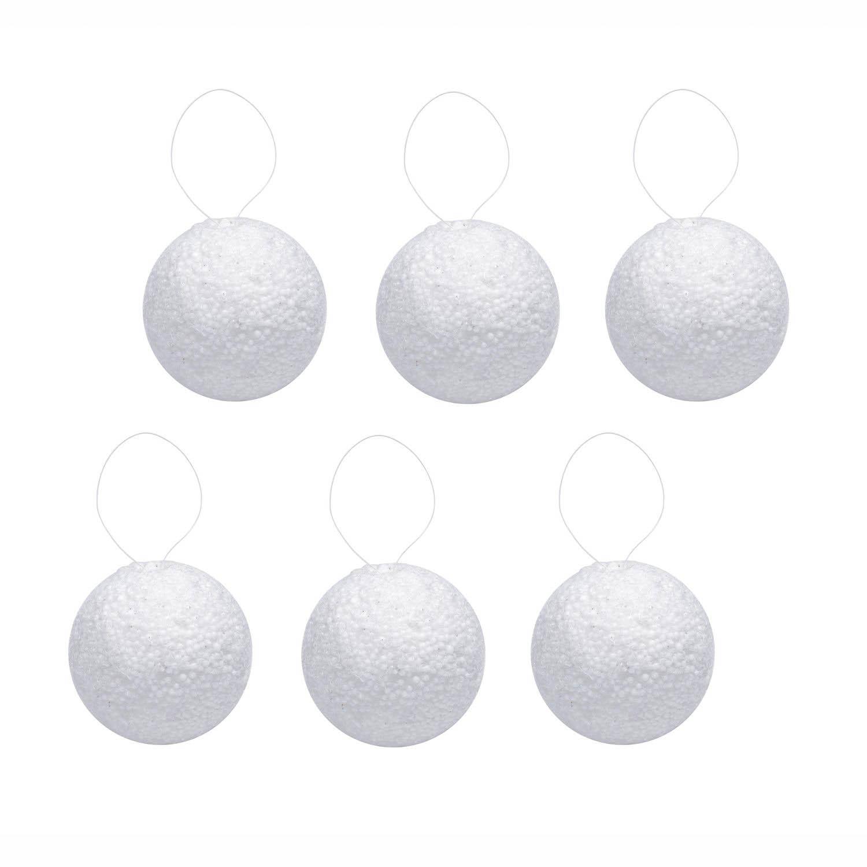 {}  Елочные шарики Снежок Цвет: Белый (6 см - 6 шт)