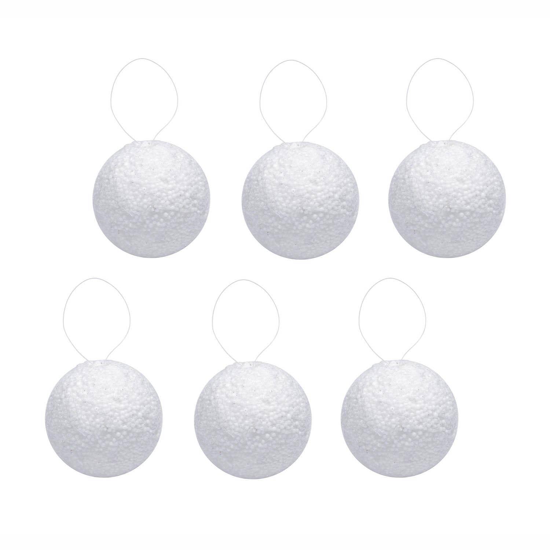 {}  Елочные шарики Снежок Цвет: Белый (7 см - 6 шт)