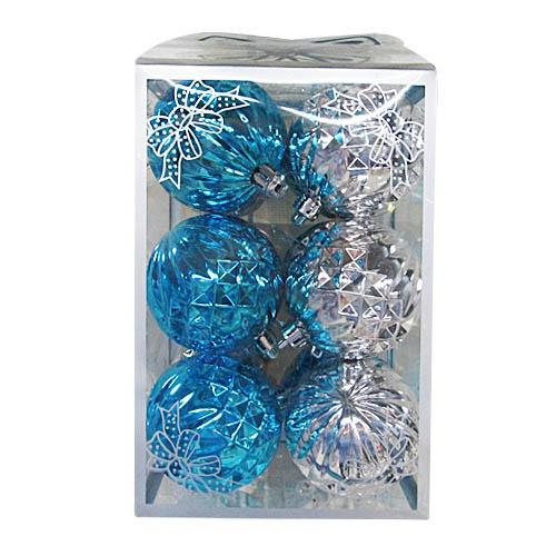 {}  Елочные шарики Gilbert Цвет: Синий, Серебристый (6 см - 12 шт)