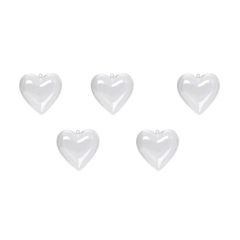 {} Елочные подвески Сердце (8 см - 5 шт) логическая игра bondibon зайчики вв2185