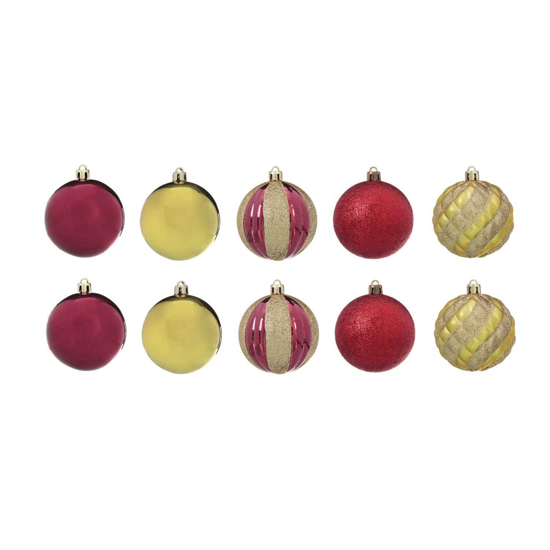{}  Елочные шарики Woody Цвет: Красный, Золотой (7 см - 10 шт) елочные шарики raven цвет красный 10 см 2 шт