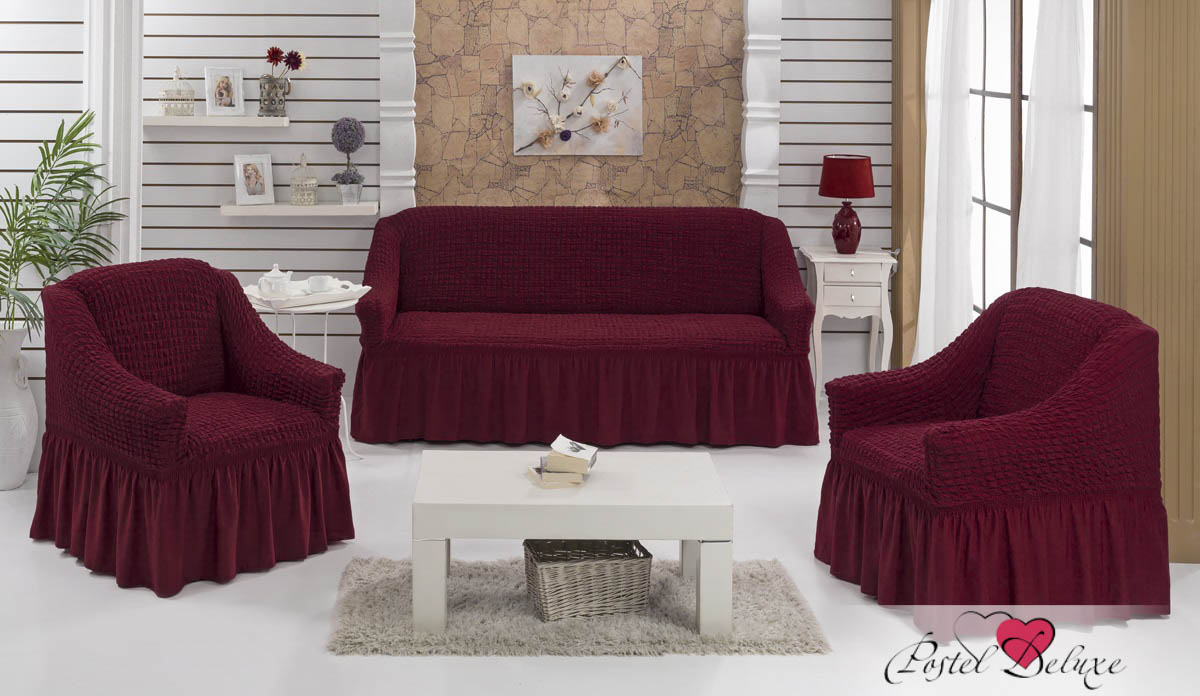 {} Every Набор чехлов для дивана Every Цвет: Бордовый набор чехлов для мягкой мебели 3 предмета every 1799 char009