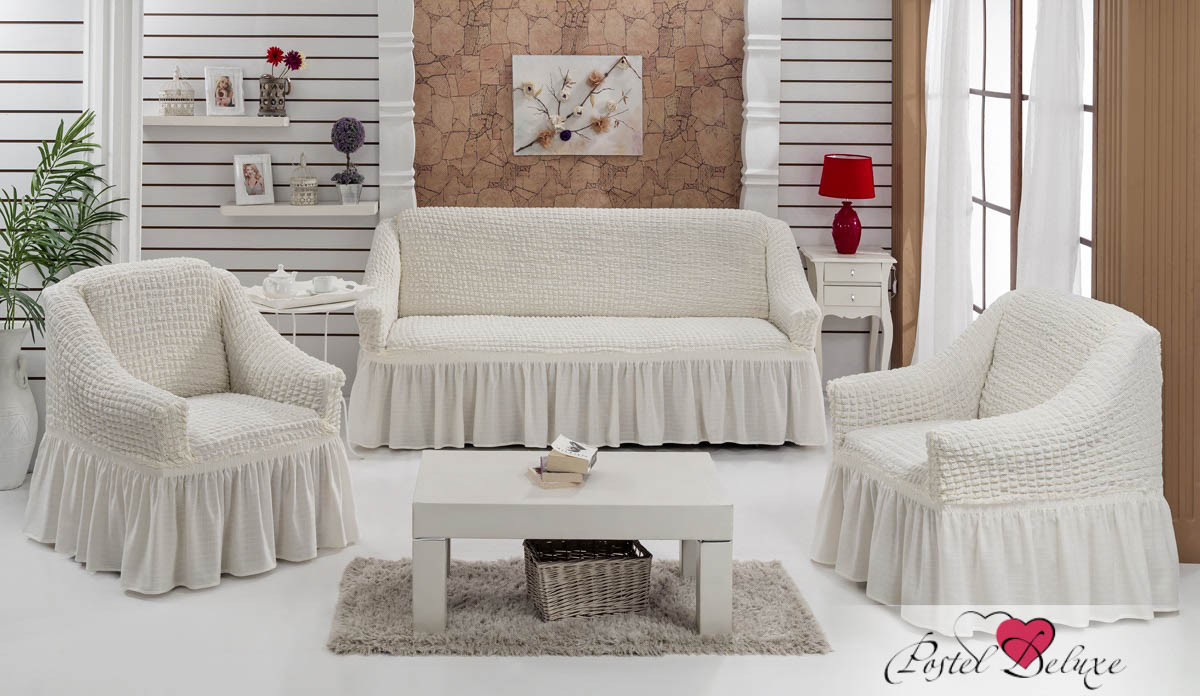 {} Every Набор чехлов для дивана Every Цвет: Кремовый набор чехлов для мягкой мебели 3 предмета every 1799 char009