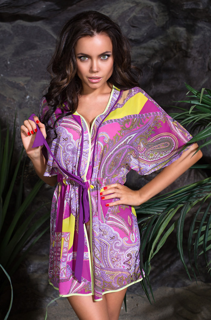 Домашние халаты Mia-Mia Халат пляжный Catalonia Цвет: Малиновый (xS-S) mia mia комбинация амаранта