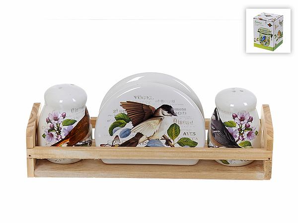 {} Polystar Набор для специй с салфетницей Birds (8х10х24 см) набор для специй polystar collection райский сад 11 5 6 8 5 см