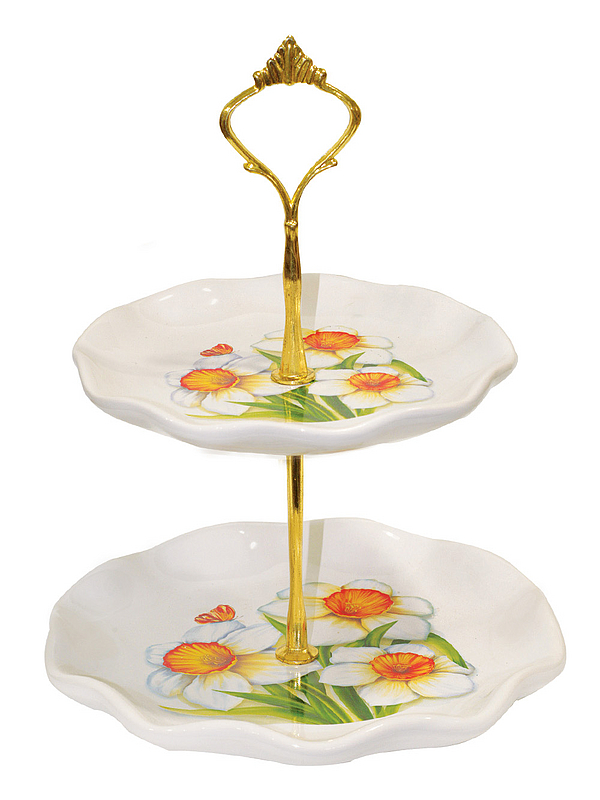 {} Polystar Тарелка-этажерка Нарцисс (18х24 см) kaemingk дружелюбный снеговик в колпаке 18х24 см 667656