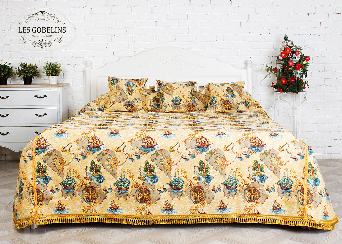 где купить Детские покрывала, подушки, одеяла Les Gobelins Детское Покрывало на кровать Bateaux (260х240 см) по лучшей цене